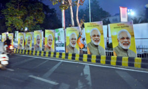 04/02/16 - BHUBANESWAR:Display boads of BJP and BJD compete for space at AG Square in Bhubaneswar ahead of the Prime Minister Narendra Modi's visit to the Capital City on February 6. -- Express photo by Biswanath Swain